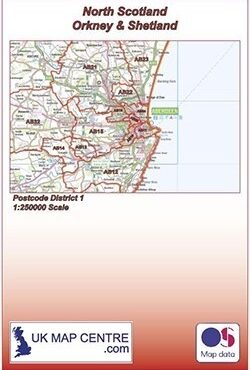 Postcode District Map 1 - North Scotland, Orkney and Shetland - Colour - Folded Cover