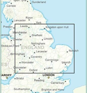 Postcode District Map 5 - East Midlands & East Anglia - Colour - Coverage