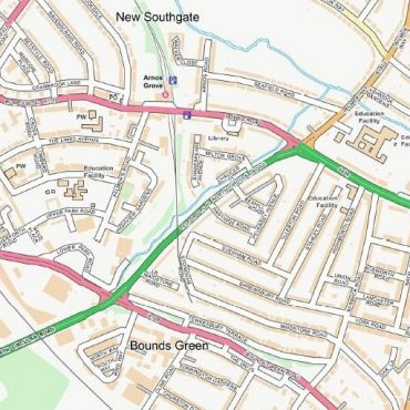 City Street Map - North London - Colour - Detail