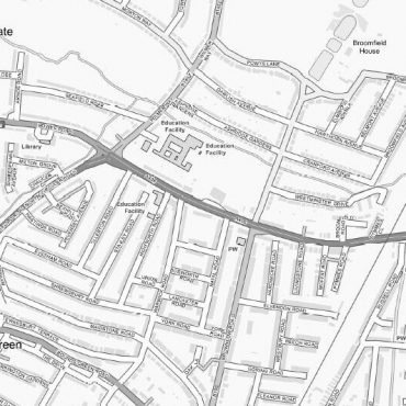 City Street Map - North London - Greyscale - Detail
