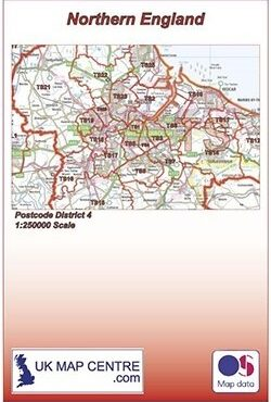 Postcode District Map 4 - Northern England - Colour - Folded Cover