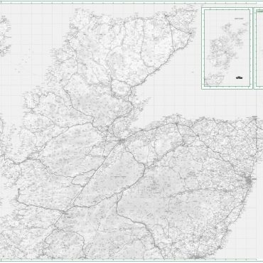 Road Map 1 - Northern Scotland, Orkney and Shetland - Greyscale - Overview