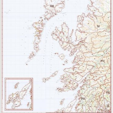Postcode District Map 2 - West Scotland & the Western Isles - Colour - Overview