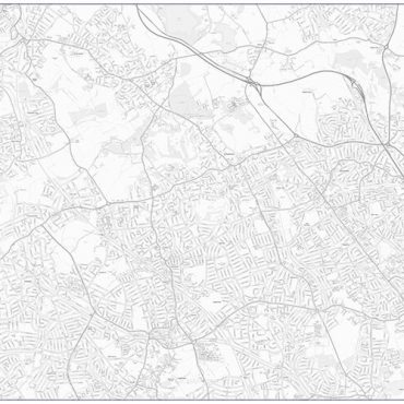 City Street Map - North West London - Greyscale - Overview