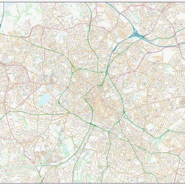 City Street Map - Birmingham - Colour - Overview