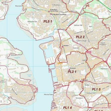Postcode City Sector Map - Plymouth - Colour - Detail