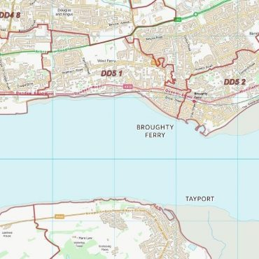 Postcode City Sector Map - Dundee - Colour - Detail