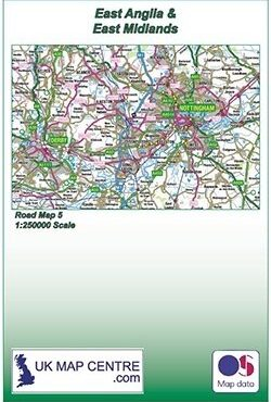 Road Map 5 - East Midlands and East Anglia - Colour - Folded Cover