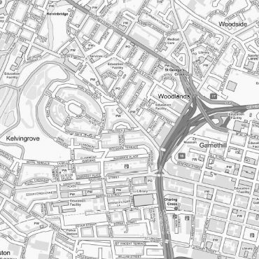 City Street Map - Central Glasgow - Greyscale - Detail