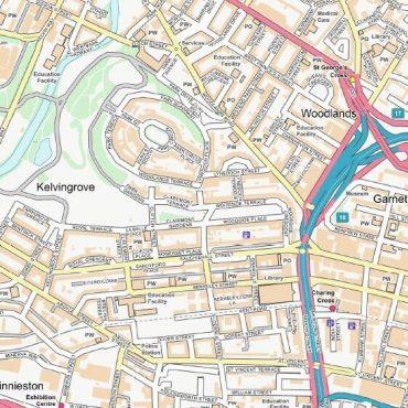 City Street Map - Central Glasgow - Colour - Detail