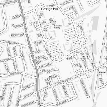 City Street Map - North East London - Greyscale - Detail