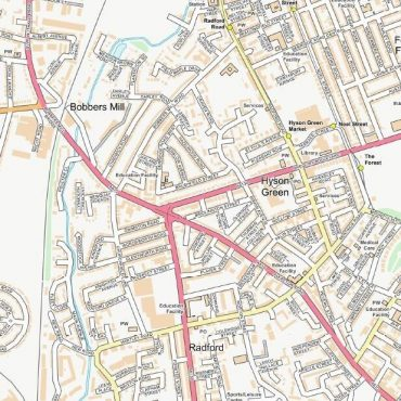 City Street Map - Central Nottingham - Colour - Detail