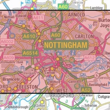City Street Map - Central Nottingham - Coverage