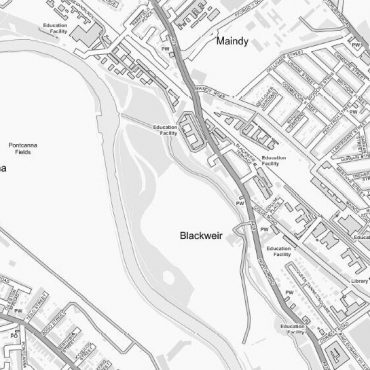 City Street Map - Central Cardiff - Greyscale - Detail