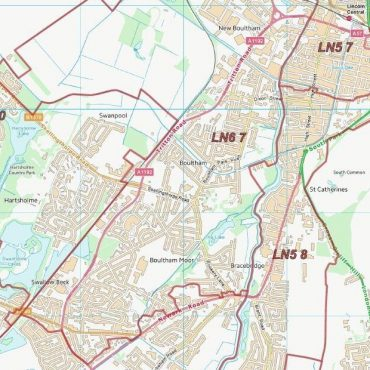 Postcode City Sector Map - Lincoln - Colour - Detail