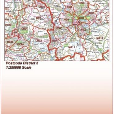 Postcode District Map 5 - East Midlands & East Anglia - Colour - Folded Cover