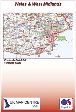 Postcode District Map 6 - Wales & West Midlands - Colour - Folded Cover