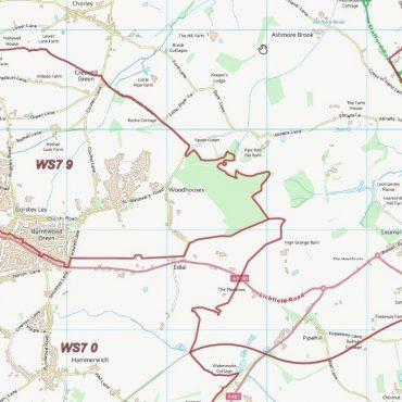 Postcode City Sector Map - Lichfield - Colour - Detail