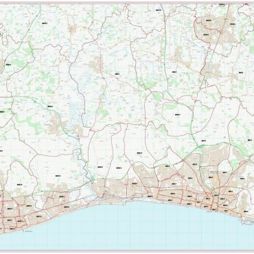 Postcode City Sector Map - Brighton & Hove - Colour - Overview