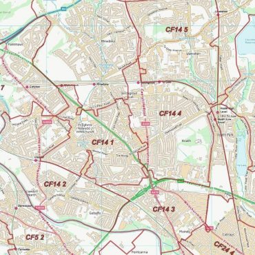 Postcode City Sector Map - Cardiff / Caerdydd - Colour - Detail