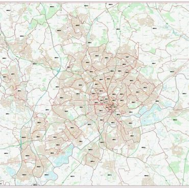 Postcode City Sector Map - Nottingham - Colour - Overview