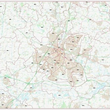Postcode City Sector Map - Derby - Colour - Overview