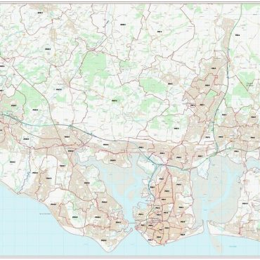 Postcode City Sector Map - Portsmouth - Colour - Overview