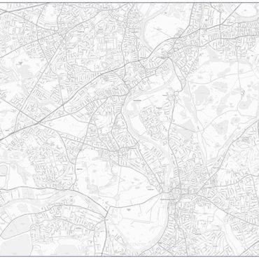City Street Map - South West London - Greyscale - Overview