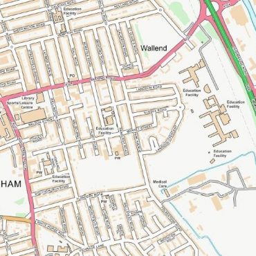 City Street Map - East London - Colour - Detail