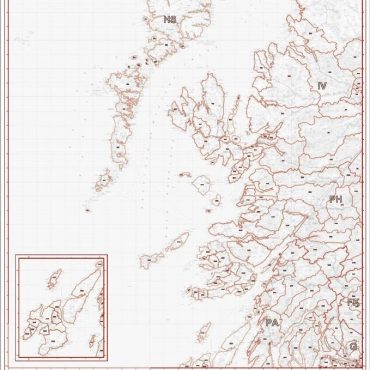 Postcode District Map 2 - West Scotland & the Western Isles - Greyscale - Overview