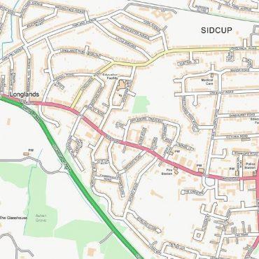 City Street Map - South East London - Colour - Detail