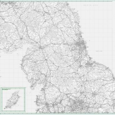 Road Map 4 - Northern England - Greyscale - Overview