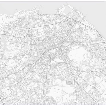 City Street Map - Central Edinburgh - Greyscale - Overview