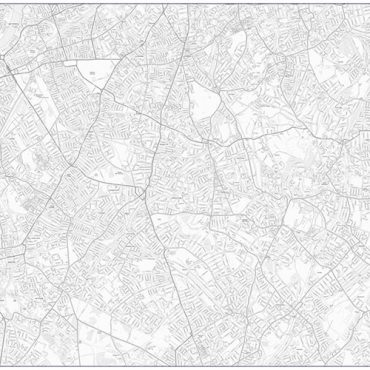 City Street Map - South London - Greyscale - Overview