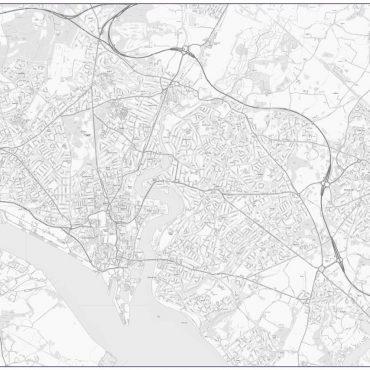 City Street Map - Central Southampton - Greyscale - Overview