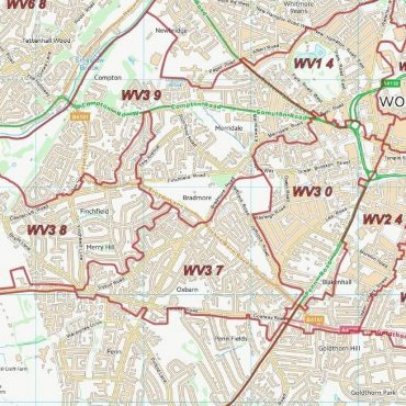 Postcode City Sector Map - Wolverhampton - Colour - Detail