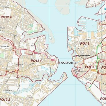 Postcode City Sector Map - Portsmouth - Colour - Detail