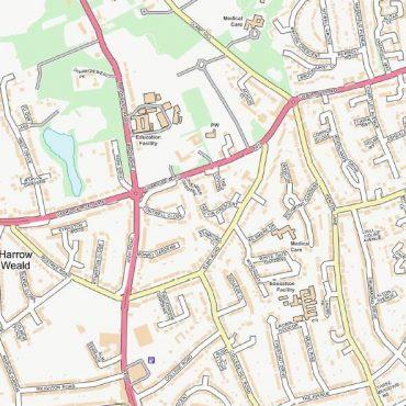 City Street Map - North West London - Colour - Detail