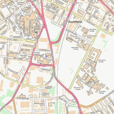 City Street Map - Central Leicester - Colour - Detail