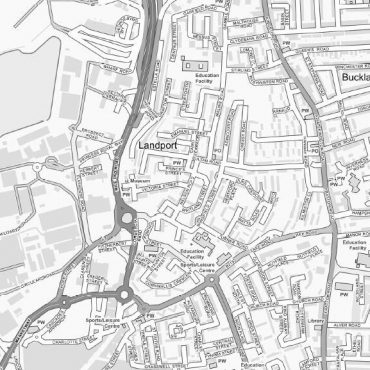 City Street Map - Central Portsmouth - Greyscale - Detail