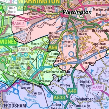 Cheshire County Boundary Map - Detail