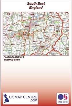 Postcode District Map 8 - South East England - Colour - Folded Cover