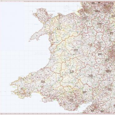 Postcode District Map 6 - Wales & West Midlands - Colour - Overview