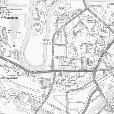 City Street Map - Central Manchester - Greyscale - Detail
