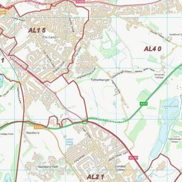 Postcode City Sector Map - St Albans - Colour - Detail
