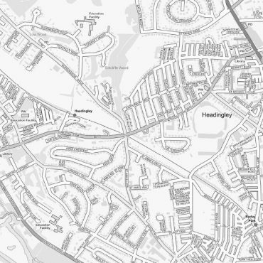 City Street Map - Leeds - Greyscale - Detail
