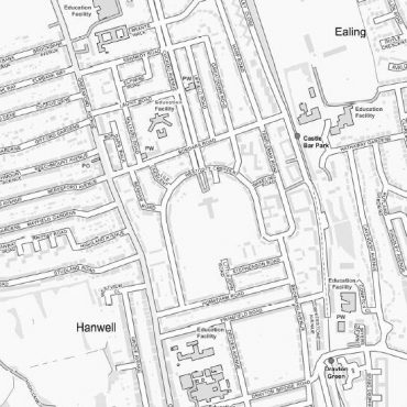 City Street Map - West London - Greyscale - Detail