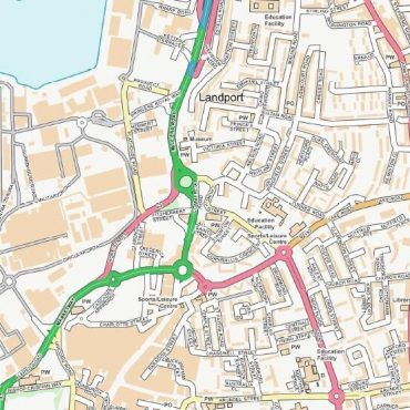 City Street Map - Central Portsmouth - Colour - Detail