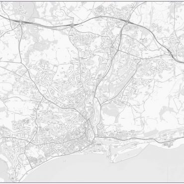 City Street Map - Central Swansea - Greyscale - Overview