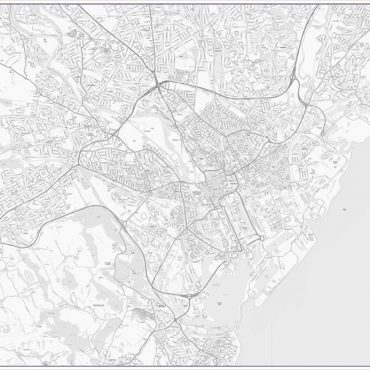 City Street Map - Central Cardiff - Greyscale - Overview
